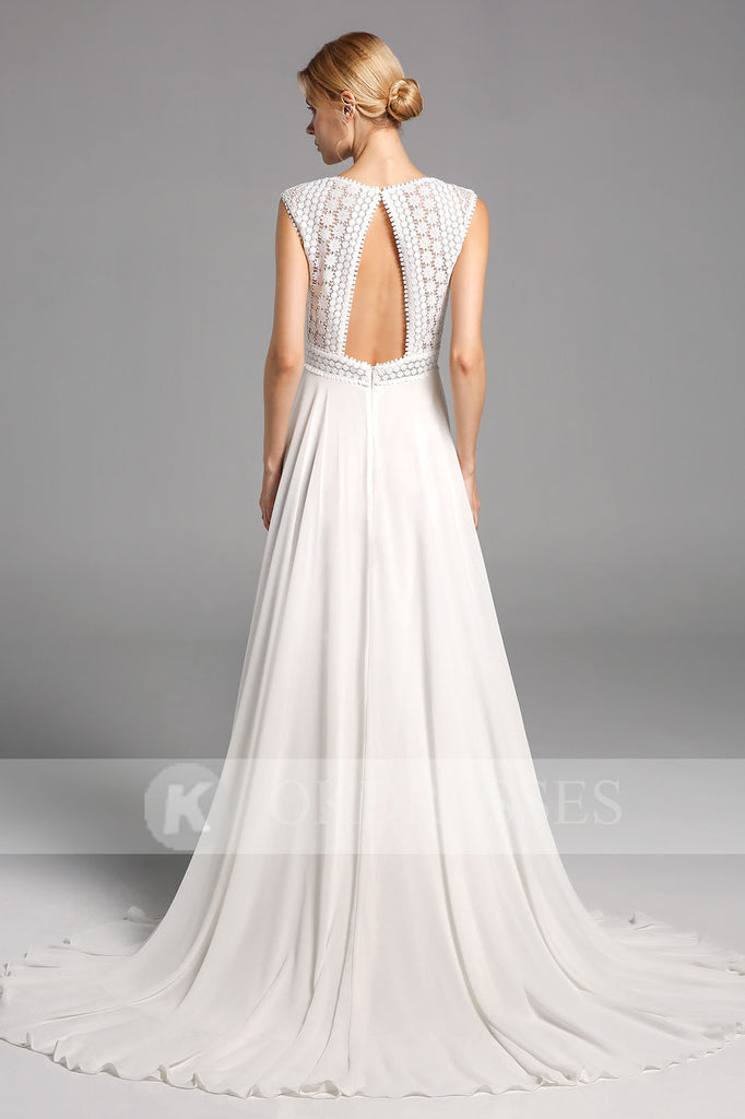 Elegant Chiffon Long Wedding Dress Open Back Bridal Gowns With Lace Top OKV13