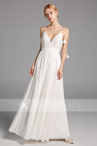 Simple Chiffon Long Wedding Dress A Line Spaghetti Straps Bridal Gowns OKV14