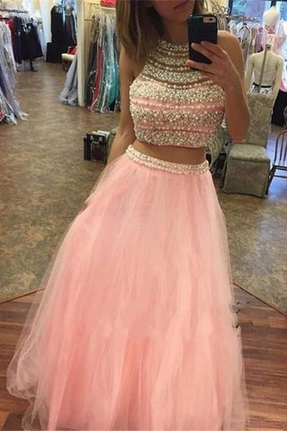 Beautiful Pink Two Pieces Beading Tulle Long Cheap Prom Dresses K687