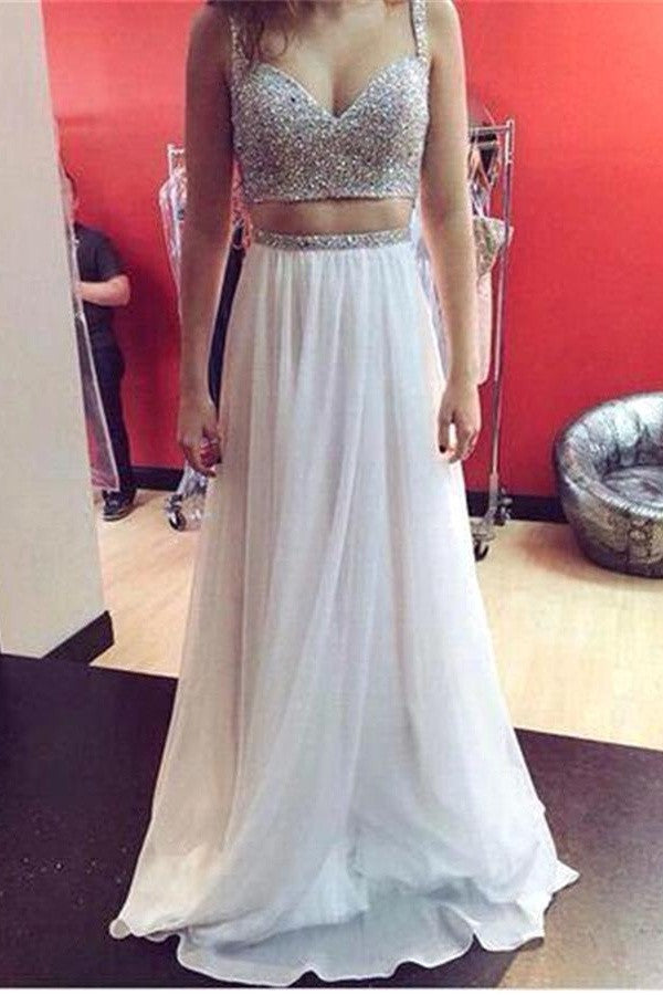 Spaghetti Straps White Chiffon Beaded Long Two Pieces Prom Dresses K688