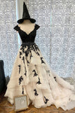 A Line V Neck Cap Sleeves Long Prom Dress With Black Lace Appliques OKS88