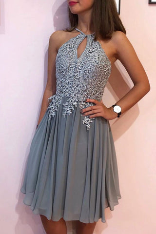 Gray Chiffon Lace Short Prom Dress Lace Appliques Homecoming Dress OKP38
