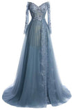elegant tulle lace long sleeves off-shoulder long prom dresses,evening dresses OK196