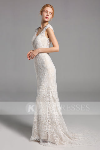New Arrival Mermaid Lace Long Wedding Dress V Neck Bridal Gowns OKV15