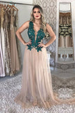 A Line Tulle V Neck Long Prom Dresses With Green Appliques OKP96