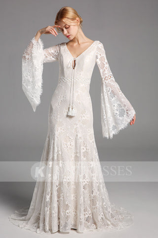 A Line Lace Long Sleeves Wedding Dress V Neck Bridal Gowns OKV16