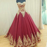 Strapless Sweetheart Neck Ball Gown Prom Dresses With Appliques,Pretty Quinceanera Dresses OK400