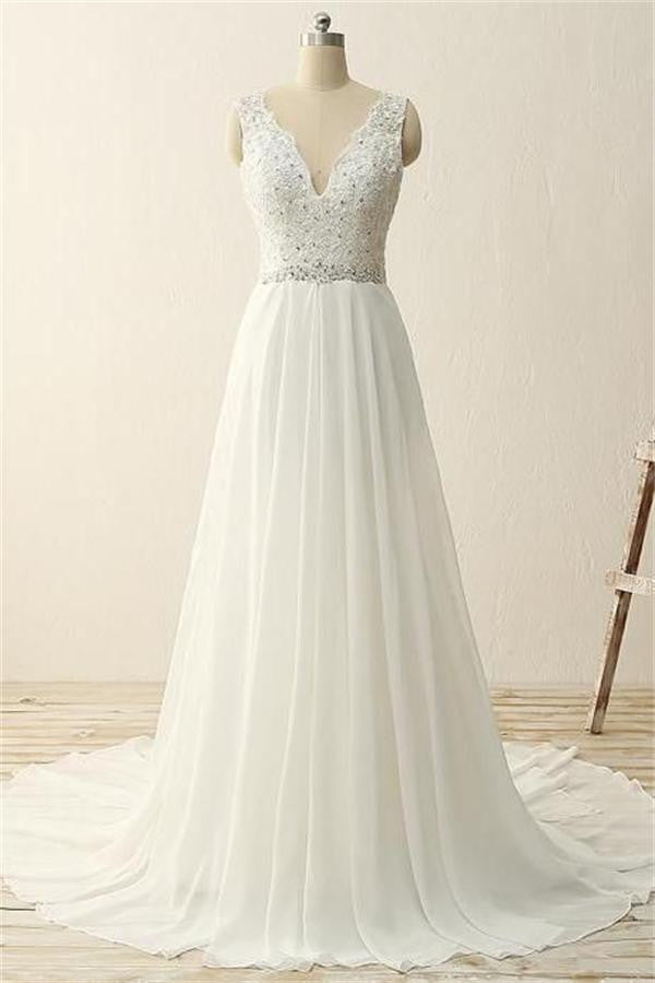 V-neck Ivory Chiffon Beading Long Simple High Quality Cheap Beach Wedding Dresses W23