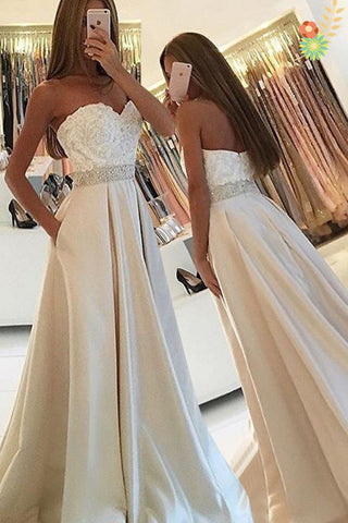 Sweetheart Backless Long Ivory Lace Satin A-line Simple Prom Dresses K736