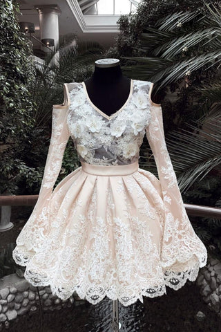 V Neck Lace Short Prom Dress, Long Sleeves Homecoming Dress OKP31