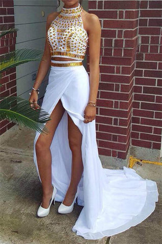 Two Pieces White Beaded Chiffon Front Split High Neckline Prom Dresses K731