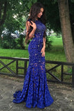 Sparkly Royal Blue Lace Beaded Long Mermaid Backless Prom Dresses Evening Dresses K753