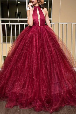 Princess Prom Dresses,Ball Gown Prom Dress,High Neck Prom Dresses,Burgundy Prom Dress,Backless Evening Dress,Tulle Prom Dresses