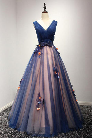 Beautiful Prom Dress,A-line Prom Dresses,V-neck Prom Dresses,Long Prom Dresses,Flowers Prom Gown