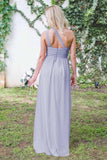 Fashion One-Shoulder A Line Floor-Length Open Back Lavender Chiffon Bridesmaid Dress OK928