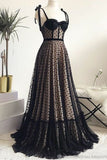 Vintage Spaghetti Straps Black A Line Long Prom Dress Formal Evening Dresses OKS50
