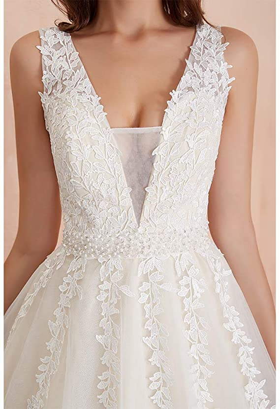 Elegant A Line Tulle Sleeveless Wedding Dress Lace Appliques Prom Gown OKU49