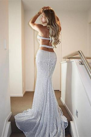 Strapless Sparkly Silver Open Back Long Sheath Party Cheap Prom Dresses OKJ91