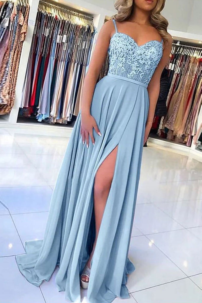 Light Blue Chiffon Slit Spaghetti Straps Prom Dresses, Long Evening Dress OKQ5