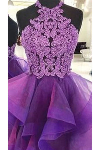 A Line Halter Purple Homecoming Dresses, Short Prom Dress With Lace OKN87