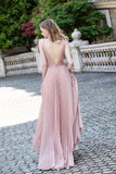 Beautiful Pink Sleeveless Long Prom Dresses 2021 Beading Glitter V Neck Pleated Party Gown OKW57
