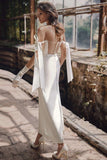 Chic Sheath Ankle Length Illusion Wedding Dress Simple Vintage Bridal Gowns OKV52