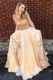 Stylish A-Line Scoop Floor-Length Satin Pocket Prom Dress with Beading OK913