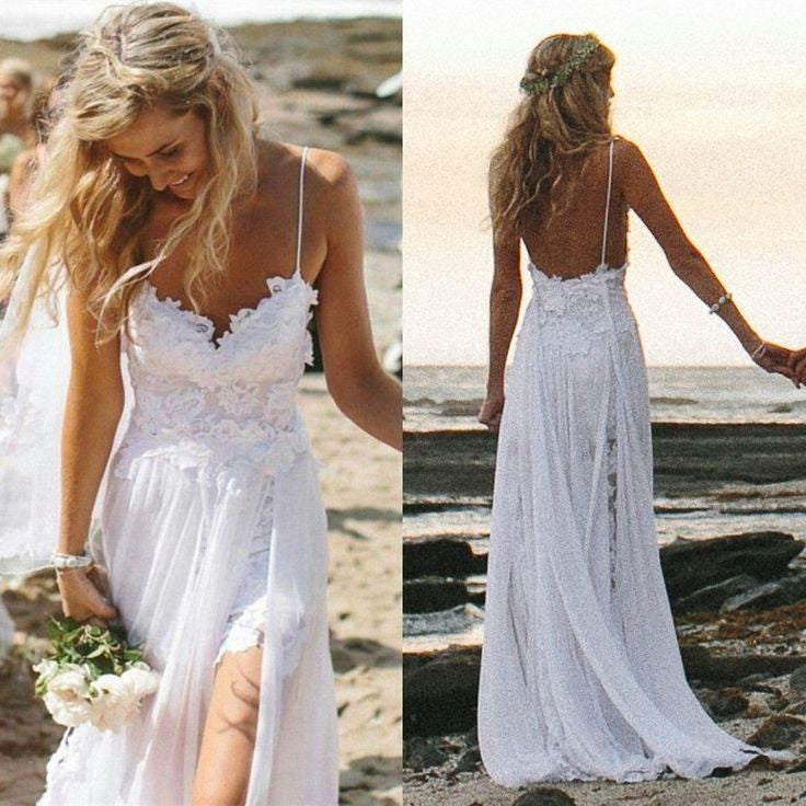 Spaghetti Straps White Lace Chiffon Backless Beach Wedding Dress W21