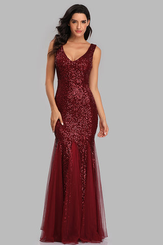 Mermaid Burgundy Tulle Long Sequined Prom Dresses XU90813