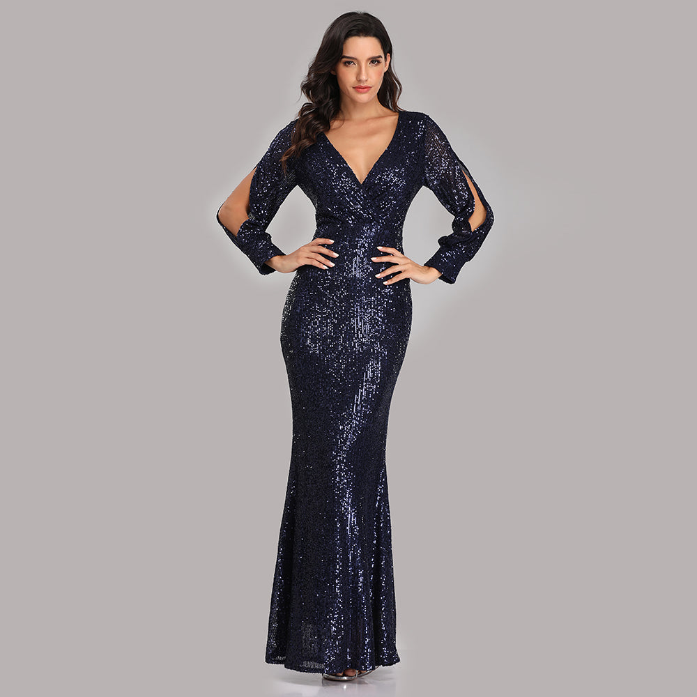 Mermaid Sequined Long Sleeves V Neck Prom Dresses XU90814