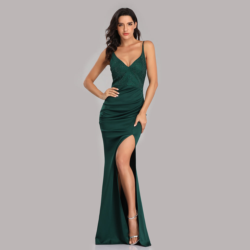 Green Mermaid Spaghetti Straps Long Prom Dresses With Slit XU90815