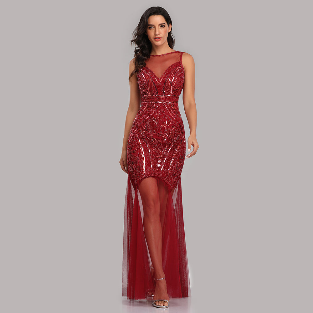 Burgundy Sheath Sexy Lonmg Prom Dresses With Sequins XU90816