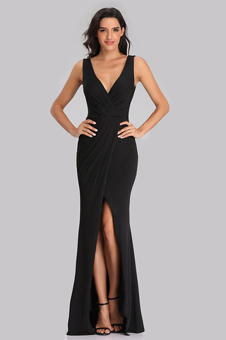 Black V Neck Long Mermaid Prom Dresses With Slit XU90817