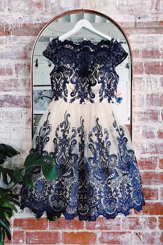 Navy Blue Lace Applique Short Cap Sleeves Homecoming Dresses OKP59