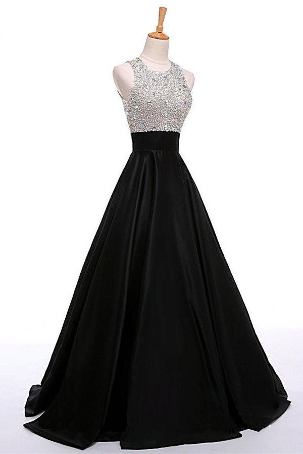 Black Open Back Beading Long A-line Satin Cheap Prom Dresses K715
