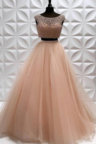 Two Pieces A Line Tulle Beading Long Sleeveless Prom Dress OKP82