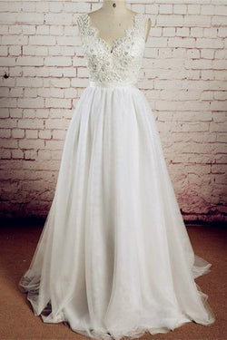 V-neck Ivory Lace Beading Long Handmade A-line Tulle Wedding Dresses W28