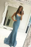 Sweetheart Prom Dresses,Mermaid Prom Dress,Blue Prom Dresses,Lace Prom Dress,Formal Evening Dress