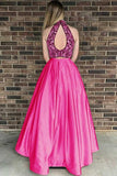 Two Piece High Neck Open Back Satin Hot Pink Prom Dress with Beading OK965