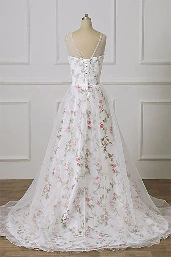 A Line Floral Appliques Pleated Off White Prom Dresses Evening Dress OKT70