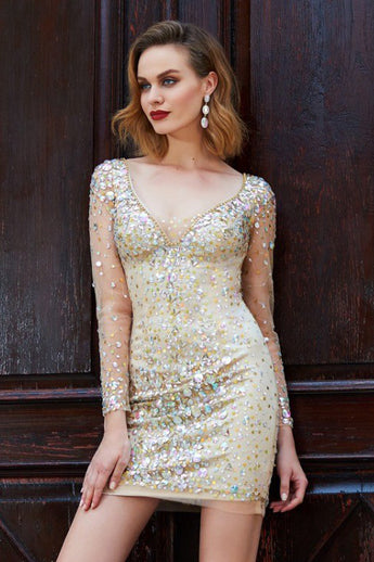 Sexy Long Sleeves Tight Short Homecoming Dresses, Cocktail Dresses OKD18