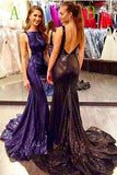 Sparkly Long Backless Sweep Train Black Modest Party Dresses Prom Dresses K762