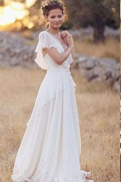 Princess Wedding Dresses,A Line Wedding Dresses,Lace Wedding Dress,Long Wedding Dresses,Beach Wedding Dress,Coast Wedding Dresses,V-neck Bridal Dresses,Chiffon Wedding Gown,Ivory Wedding Dresses,Summer Wedding Dresses