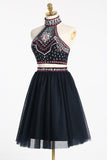 High Neck Beading Two Piece Short Backless Homecoming Dresses,2 Pieces Prom Dresses OK280
