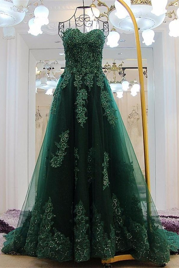 Sweetheart Lace Beading Long Green A-line Modest Prom Dresses K701