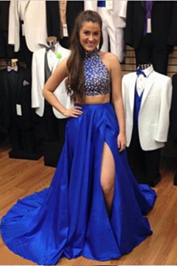 Two Pieces Royal Blue Beaded Long Prom Evening Dresses 7