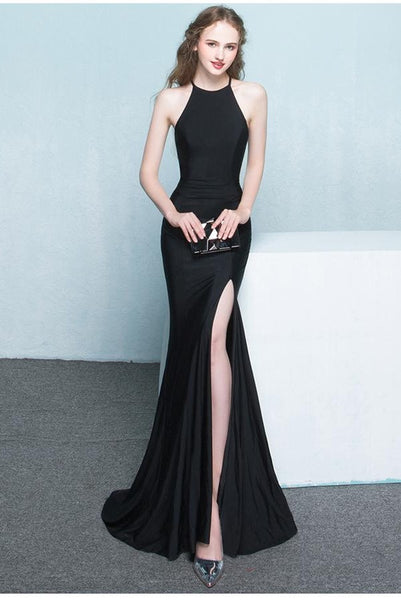 Charming Simple Style Long Sheath Sexy Cheap Black Prom Dresses K703