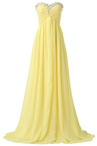 Yellow Chiffon Beaded Strapless Lace Up High Low Pregnant Prom Dresses K745