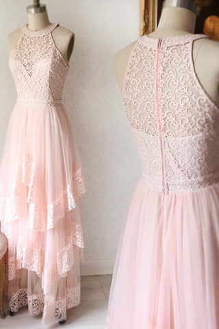 Princess Pink Lace Long Prom Dress Bridesmaid Dresses OKK96