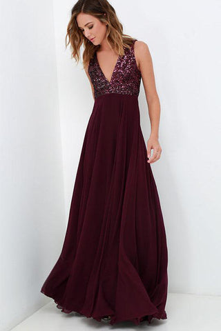 Burgundy Bridesmaid Dresses WIth Sequin Top, A-line Long Chiffon Wedding Party Dress OKO80